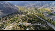 Ladakh aerial journey across fantastic landscape in north Indian trans Himalayan mountains