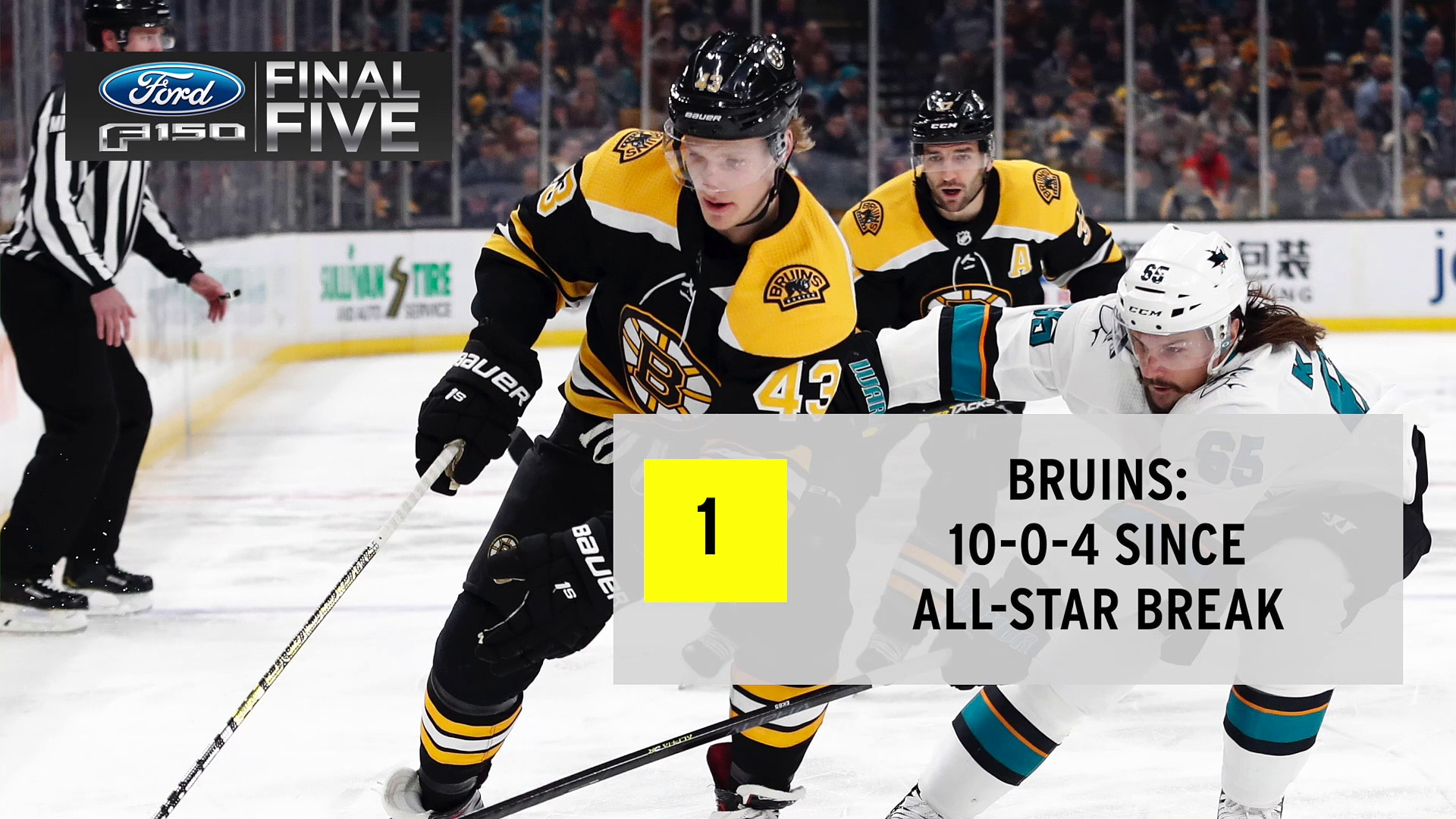 Ford Final Five Facts: Bruins Extend Point Streak After Sinking Sharks