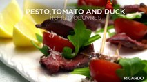 Pesto, Tomato and Duck Hors d'oeuvres