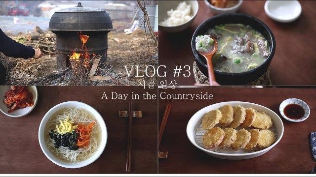 [ENG] #3 VLOG A Day in the Countryside │ 시골 일상 │ 田舎日常 │ 가마솥 소머리국밥, 잔치국수, 고구마튀김