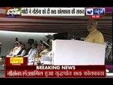 Prime Minister Narendra Modi inducts INS Kolkata into Indian Navy