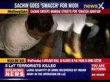 Sachin Tendulkar sweeps Mumbai streets for 'Swacch Bahrat'