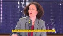 """Report de l'interdiction de la fabrication sur le sol français de pesticides vendus en dehors de l'UE """"Ça aurait probablement été mieux d'être capables d'aller plus vite. 2025 c'est un peu loin, peut-être que 2022 c'était mieux"""" affirme Emmanuelle Wargon"""