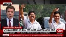 Birmanie: Deux journalistes de Reuters, condamnés à sept ans de prison pour avoir enquêté sur un massacre de musulmans rohingyas, ont été libérés - VIDEO