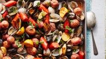 How to Make Sheet Pan Seafood Bake with Wine Sauce