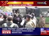 Congress protest outside IT minister's house