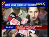 Sania Mirza receives grand welcome at Hyderabad airport