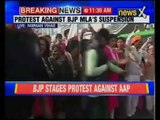 Delhi BJP protests against OP Sharma's suspension in Nirman Vihar