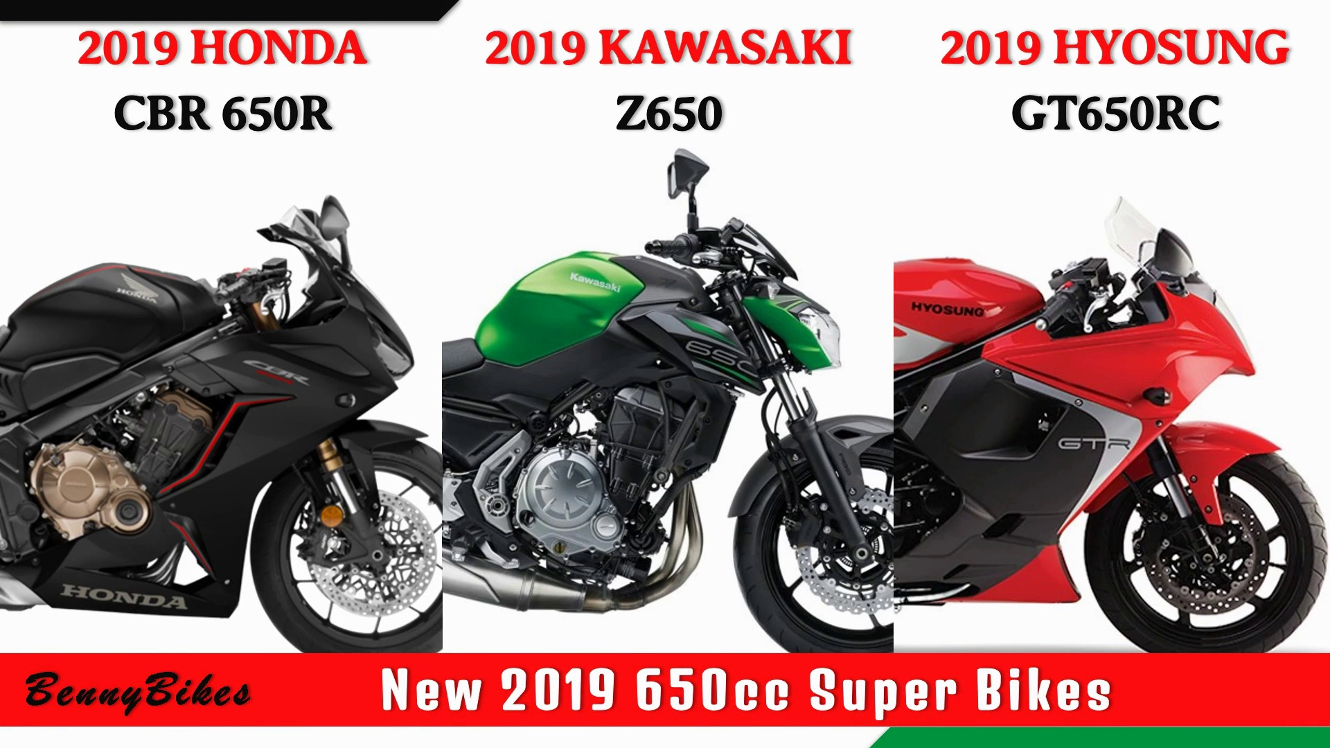 2019 All New Honda CBR 650R VS New 2019 Kawasaki Z650 VS New 2019 Hyosung GT650RC
