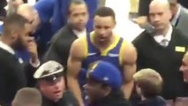 Steph Curry Goes Into Stands to Breakup A FIGHT Between A Warriors Fan & Security Guard!