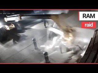 Dramatic footage shows moment raiders ripped out cash machine loaded with £89,000 | SWNS TV