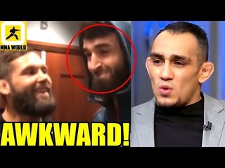 Zabit Magomedsharipov runs into Jeremy Stephens backstage,Usman-I'll finish Woodley in RD 4 or 5