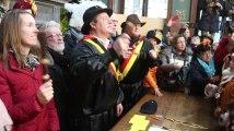 Mardi gras du carnaval de Binche : Justine Henin à la remise des médailles aux gilles