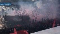 Ambiance de folie lors de l'arrivée des joueurs du Stade Rennais