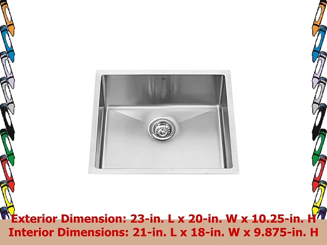 VIGO 23inch Undermount Stainless Steel 16 Gauge Stainless Steel Single Kitchen Sink with