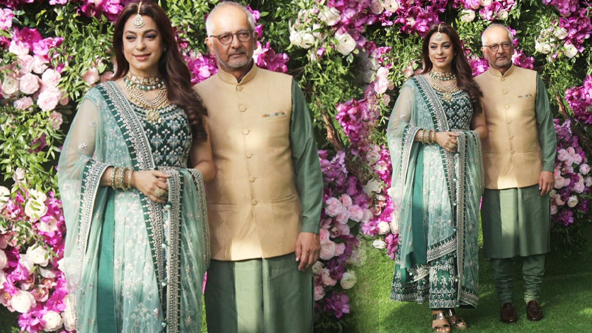 Juhi Chawla looks pretty in green embroidered suit at Akash Ambani's  wedding: Watch video | Boldsky