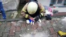 Massage cardiaque d'un pompier.. sur un petit chien !