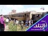 صدي البلد   خروج قطار عن القضبان بمحطة شبين الكوم