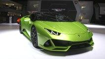 Automobili Lamborghini stellt auf dem Genfer Autosalon 2019 den Huracán EVO Spyder vor - atemberaubende Leistung und Präsenz