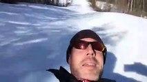 Dog Chases His Human Sledding Down Ski Hill