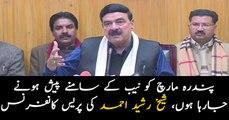 Railways Minister Sheikh Rasheed addresses media