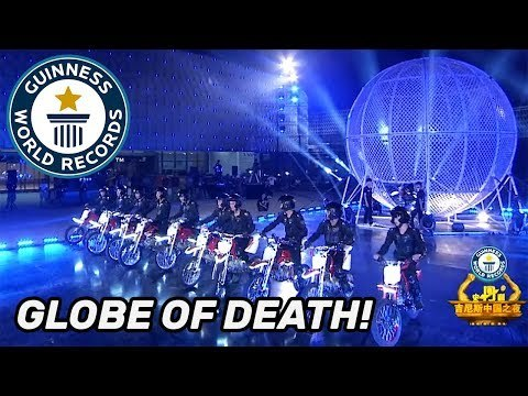 Most motorcycles in a sphere of death - As Seen On TV China
