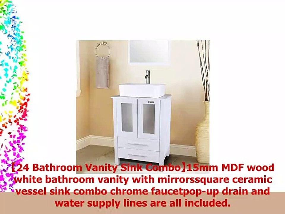 24 White Bathroom Vanity With 2 Draweres Wmirror Setsquare Ceramic