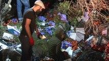 25 ton domates yüklü tır devrildi...Karayolu domates tarlasına döndü