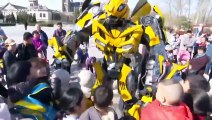 Transformer fan dresses up in 9ft Bumblebee costume in China's Shandong