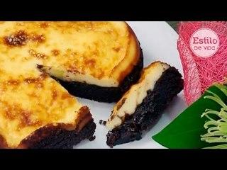Tarta de queso y chocolate   Postre fácil y rápido