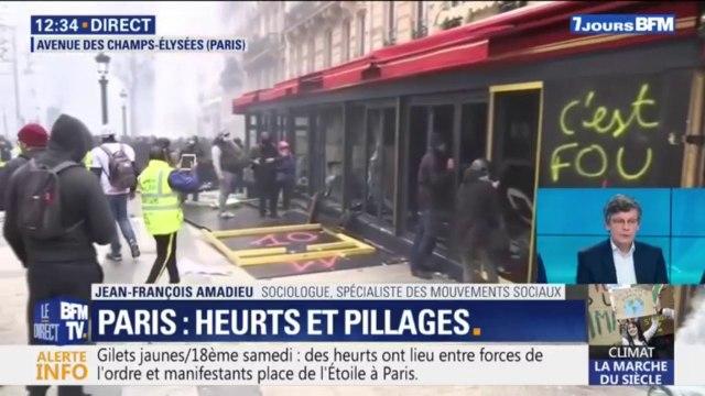 Gilets jaunes: les images du Fouquet's vandalisé sur les Champs-Élysées