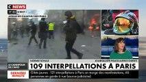 """Regardez la boutique """"Longchamp"""" sur les Champs Elysées qui a été incendiée peu avant 17h lors d'affrontements avec les forces de l'ordre"""