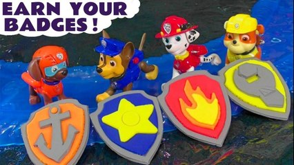 Paw Patrol Earn their Play Doh Badges when Thomas and friends need a Rescue with funny Funlings help after DC Comics the Joker pranks, opening them to reveal Surprise Toys when they rescue!