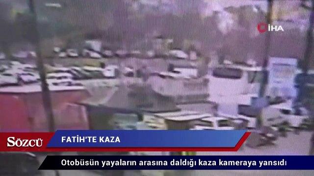 Özel halk otobüsünün yayaların arasına daldığı kaza kamerada