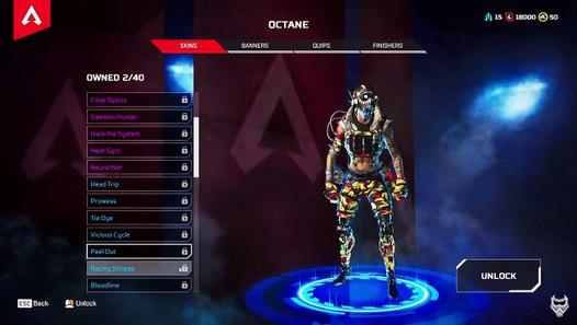 ALL OCTANE SKINS & COSMETICS SHOWCASE in Apex Legends
