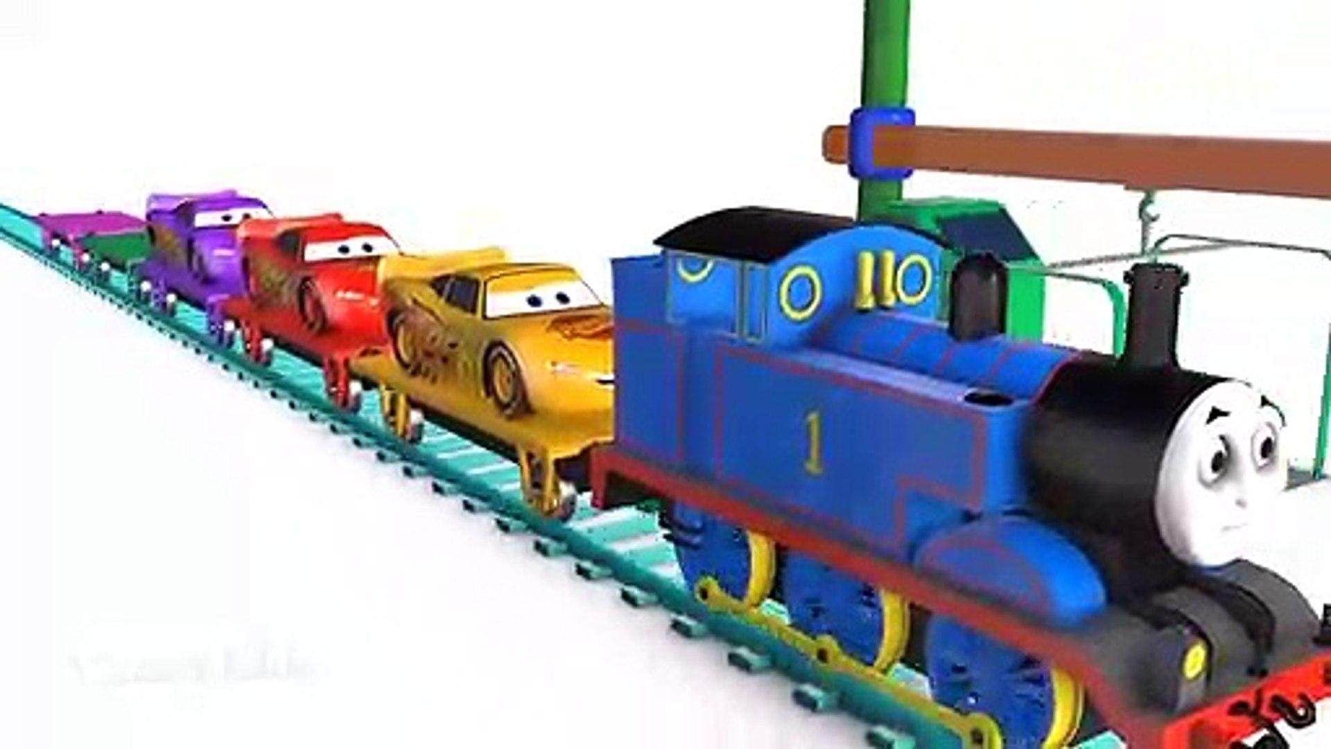 ماكوين القطار اللون للأطفال - تعلم الفيديو التعليمية - تعلم سيارات 3D الأبطال الخارقين للأطفال