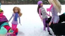 La planche à neige! Barbie, Chelsea, Stacie Et Patron de la DIAPOSITIVE avec la piste de LUGE. De plaisir dans la Neige!