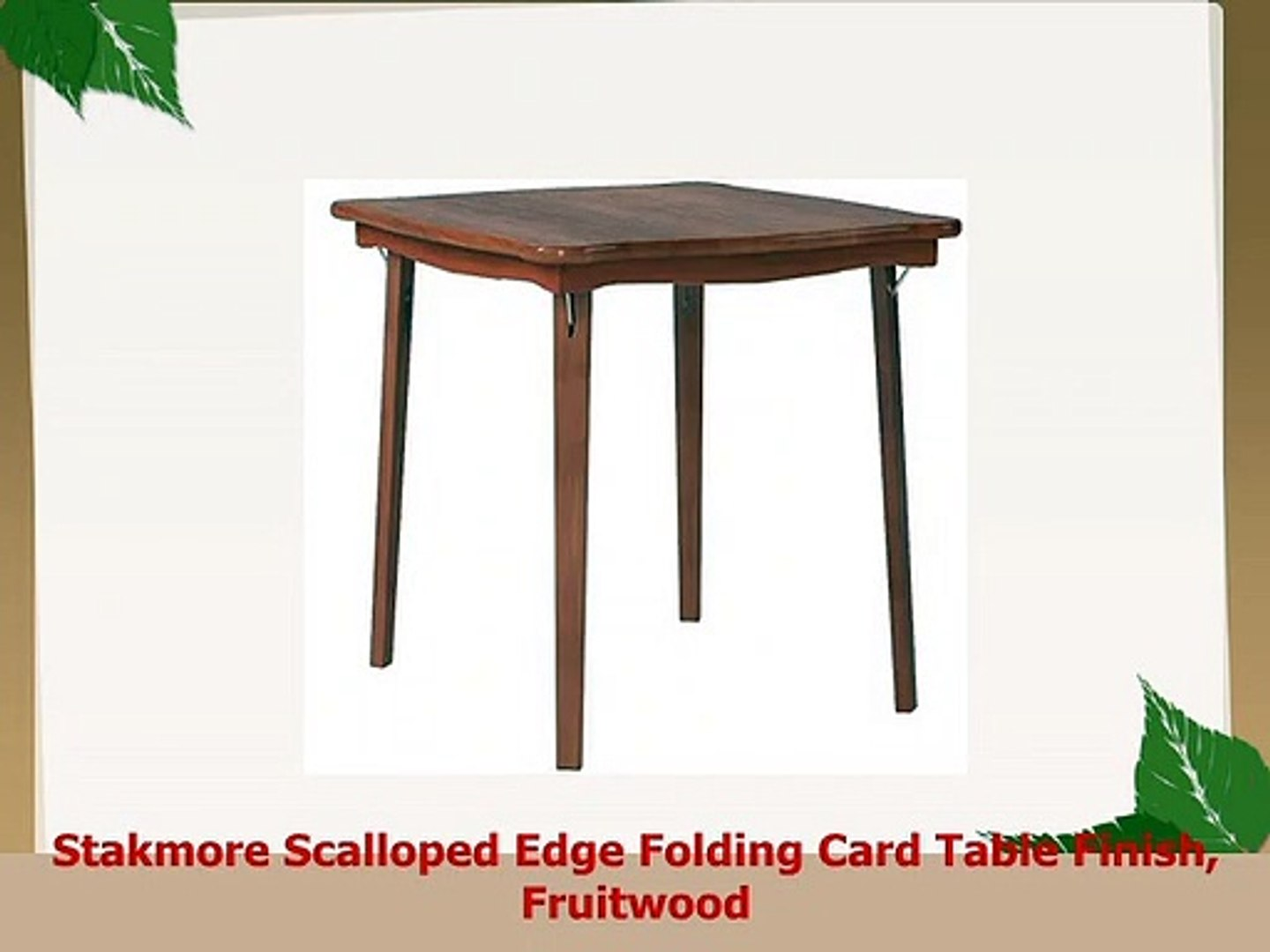Stakmore Scalloped Edge Folding Card Table Finish Fruitwood