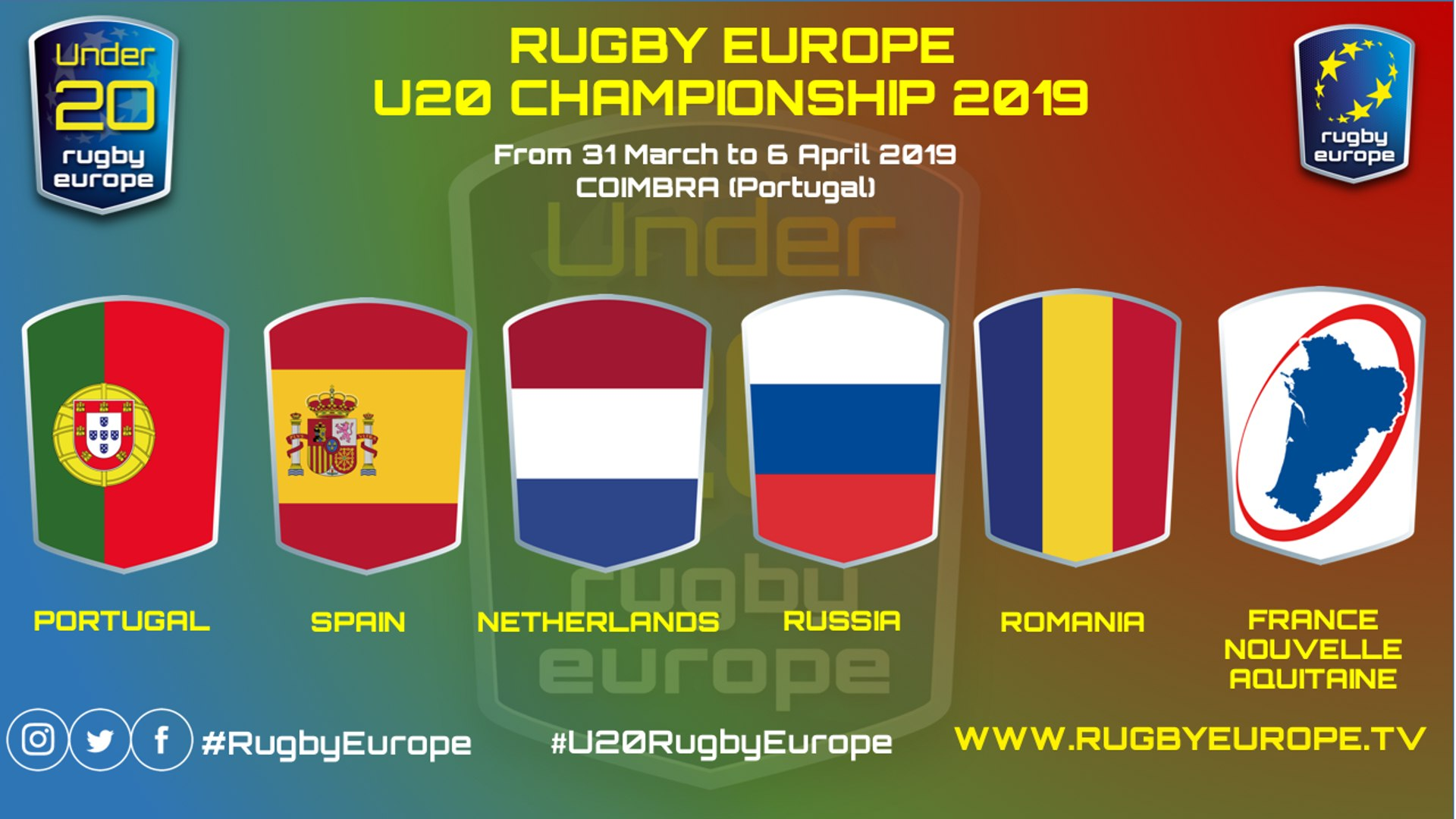 RUGBY EUROPE U20 CHAMPIONSHIP 2019 - COIMBRA - 31 MARCH => 6 APRIL 2019