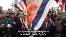 People protest against Trump decision on Golan in regime-held Aleppo