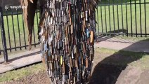 Imposing sculpture made from 100,000 knives arrives in Coventry