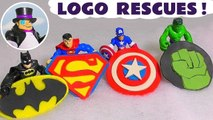 DC Comics Justice League and Marvel Avengers 4 Rescue their Play Doh Superheroes Logos from the Penguin with help from Funny Funlings, Opening and Unboxing them revealing surprise toys