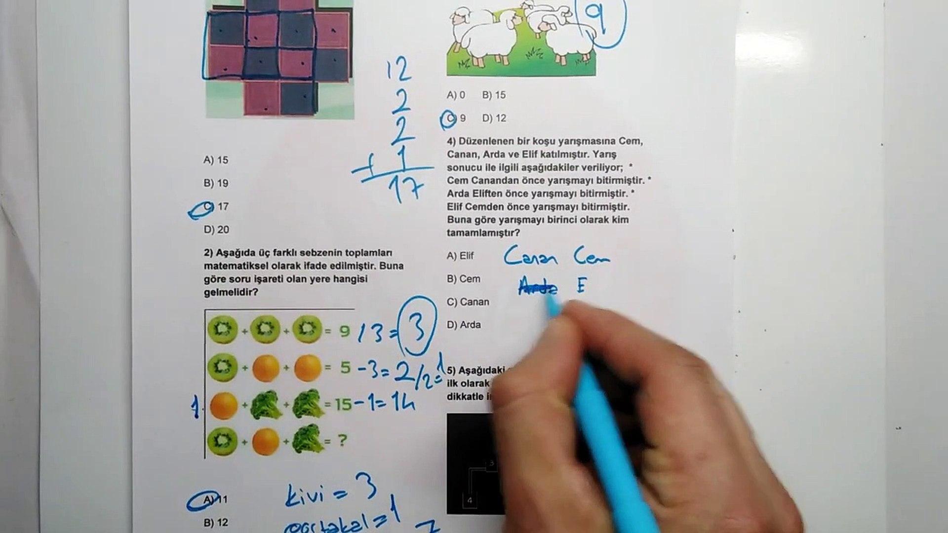 5. Sınıf ZEKA OYUNLARI 2.Dönem 1.Yazılı Soruları ve Çözümü 2018