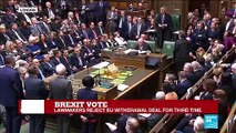 Brexit vote: Lawmakers reject EU withdrawal deal for third time