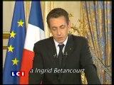 Sarkozy pide as las FARC que liberen a Ingrid Betancourt