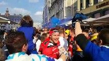 Coupe de la Ligue : les supporters de l'En Avant Guingamp et du RC Strasbourg à Lille