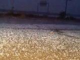 El granizo y la fuerte lluvia hizo imposible la conducción en Alemería