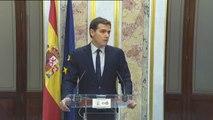 """Rivera: """"Sánchez está más cómodo con quienes escupen a un ministro de España que con los que aplaudimos a un ministro de España"""""""