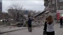 Un espectacular derrumbe de un edificio en Izhevsk (Rusia) se salda con dos fallecidos y varios heridos