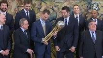 Felipe VI recibe al Real Madrid de baloncesto, campeones de la Copa del Rey